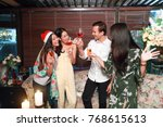 people cheers on holiday party  ... | Shutterstock . vector #768615613