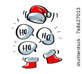 santa hat and shoes with ho ho... | Shutterstock .eps vector #768627013