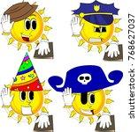 cartoon sun raising his hand... | Shutterstock .eps vector #768627037