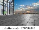 night view of empty brick floor ...   Shutterstock . vector #768632347