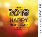 happy new year 2018 in orange...   Shutterstock .eps vector #768651757