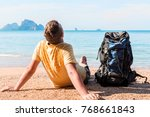 tourist with a large backpack... | Shutterstock . vector #768661843