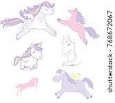 set collection of cute horses....   Shutterstock .eps vector #768672067