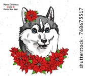 christmas card.  husky face and ... | Shutterstock .eps vector #768675517