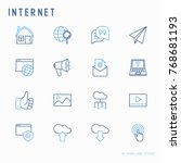 internet thin line icons set  e ... | Shutterstock .eps vector #768681193
