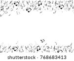 black musical notes flying... | Shutterstock .eps vector #768683413