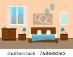 bedroom with furniture and... | Shutterstock .eps vector #768688063
