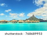 otemanu mountain and luxury... | Shutterstock . vector #768689953