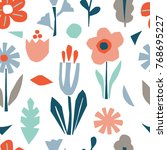 cutout flowers and floral... | Shutterstock .eps vector #768695227