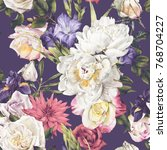 seamless floral pattern with... | Shutterstock . vector #768704227