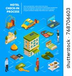 hotel check in process.... | Shutterstock .eps vector #768706603