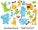 big vector set of animals.... | Shutterstock .eps vector #768714157