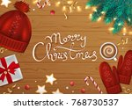 merry christmas and happy new... | Shutterstock .eps vector #768730537