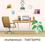 a modern home office. workspace ... | Shutterstock .eps vector #768736993