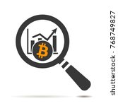 flat search icon of bitcoin...