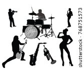 silhouettes of jazz music... | Shutterstock .eps vector #768751573