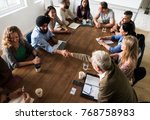 diverse group of people in a... | Shutterstock . vector #768758983