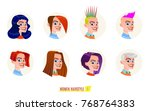 women hairstyle set. cartoon... | Shutterstock .eps vector #768764383