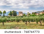 medievil tower in rovies  evia... | Shutterstock . vector #768764773