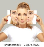 aging. mature woman young woman.... | Shutterstock . vector #768767023