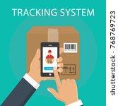 hand holding mobile smart...   Shutterstock .eps vector #768769723