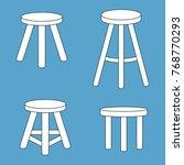 three legged stool set. vector... | Shutterstock .eps vector #768770293