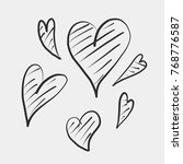 set of unique hand drawn hearts....   Shutterstock .eps vector #768776587