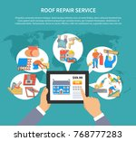 roofer colored flyer with roof... | Shutterstock .eps vector #768777283