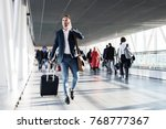 busy man speaking on phone and... | Shutterstock . vector #768777367