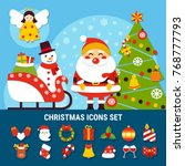 set of christmas icons with... | Shutterstock .eps vector #768777793