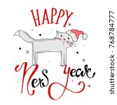 greeting card happy new year... | Shutterstock .eps vector #768784777
