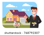 realtor shows the house for... | Shutterstock .eps vector #768792307