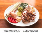 insect food   grasshopper fried ... | Shutterstock . vector #768793903