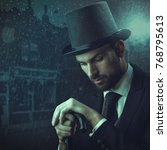 englishman detective  retro... | Shutterstock . vector #768795613