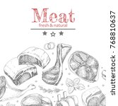 vector background with meat... | Shutterstock .eps vector #768810637