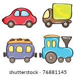 Set of cartoon color cars on a white background - stock vector