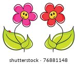 Two fine cartoon of a flowers - stock vector