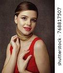 retro styled female portrait ... | Shutterstock . vector #768817507