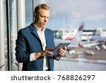 businessman using tablet in...   Shutterstock . vector #768826297