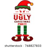 ugly sweater party elf | Shutterstock .eps vector #768827833