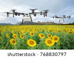 agriculture drone flying on the ... | Shutterstock . vector #768830797