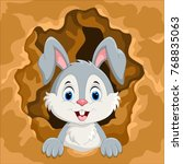 cute rabbit out of the hole  | Shutterstock .eps vector #768835063