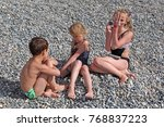 siblings have fun time on the... | Shutterstock . vector #768837223