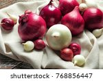 variety of different onions on... | Shutterstock . vector #768856447