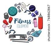 set of fitness accessories ... | Shutterstock .eps vector #768862867