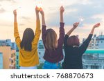 outdoor shot of young people at ... | Shutterstock . vector #768870673