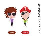 diva and pirate figure avatars   Shutterstock .eps vector #768874687