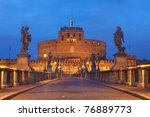 Rome, Italy The famous Castel Sant'Angelo at twilight - stock photo