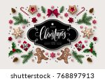 christmas greeting card with ... | Shutterstock .eps vector #768897913
