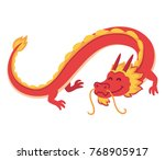 chinese red dragon flying  cute ... | Shutterstock .eps vector #768905917